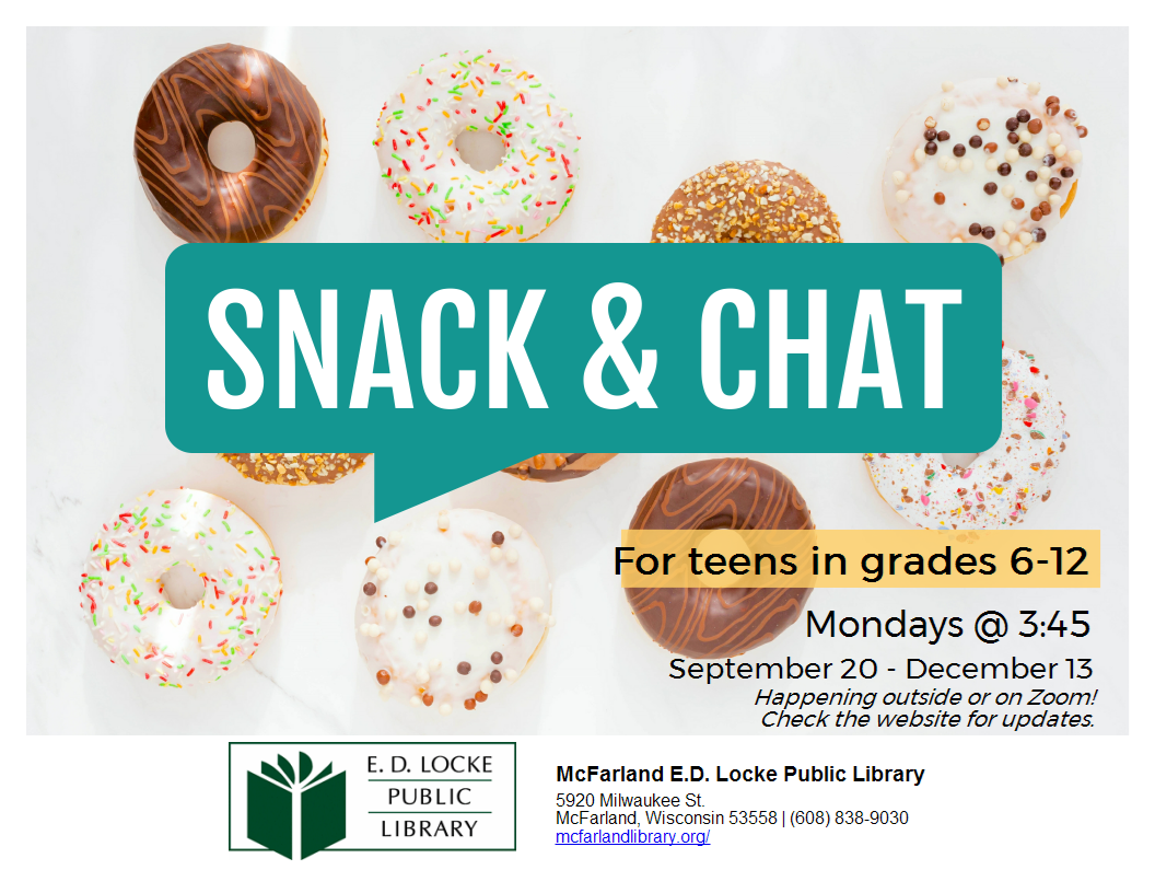 Image of doughnuts with the words Snack and Chat