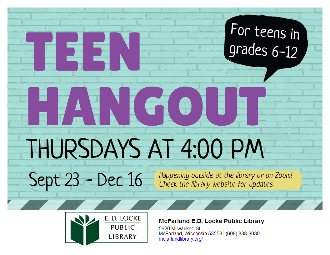 Image of blue brick with purple and black letters. Text reads Teen Hangout for teens in grades 6-12.