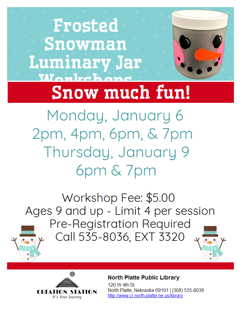 Creation Station Workshop: Frosted Snowman Luminary Jar